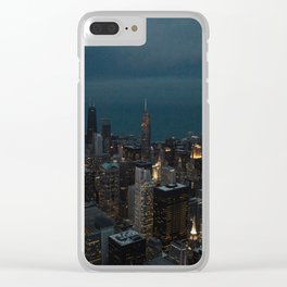 Chicago Skyline at Night Clear iPhone Case