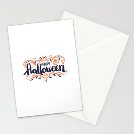 Happy Halloween Greeting Typography Stationery Cards