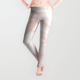 Tropical Leaves Pink and White Leggings