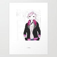 jenna kutcher Art Prints featuring Fashionista (Jenna) by MelsArtShop