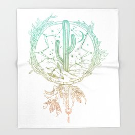 Desert Cactus Dreamcatcher Turquoise Coral Gradient on White Throw Blanket