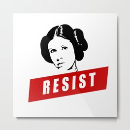 Princess Leia RESIST Star War black white red join the resistance Metal Print