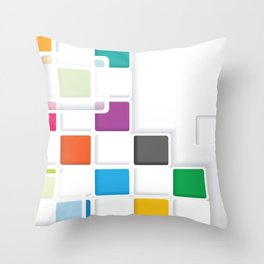 RAINBOW SQUARES ON A WHITE BACKGROUND Abstract Art Throw Pillow