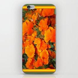 Sage Green Art Golden California Poppies Design iPhone Skin