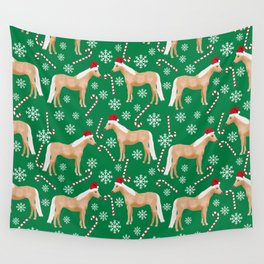 Palomino Horse Christmas - peppermint, candy cane, snowflake, christmas, green and red, santa Wall Tapestry