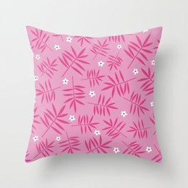 Palm Leaves Pink Throw Pillow