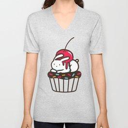 Chubby Bunny on a cupcake Unisex V-Neck