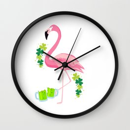 Cool Flamingo With Green Beer Clover St Patricks Day Wall Clock
