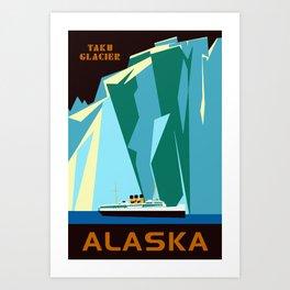 Alaska Taku Glacier retro vintage style travel Art Print