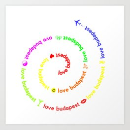 Love Budapest, icons, colors Art Print