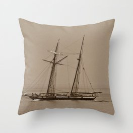 Tall ship and the Fog Throw Pillow