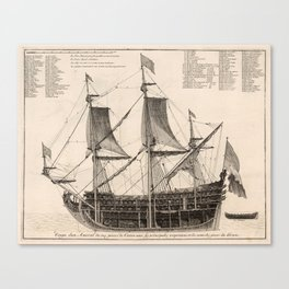 Vintage Naval Vessel Interior Diagram (1693) Canvas Print