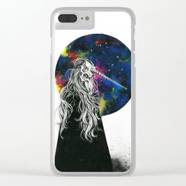 Unicorn girl Galaxy version Clear iPhone Case