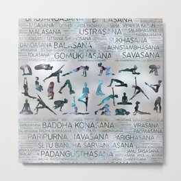 Yoga Asanas / Poses Sanskrit Word Art  Labradorite on pearl Metal Print