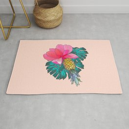 Tropical Summer Watercolor Pink Green Yellow Floral Rug