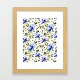Irisis and lilies - flower pattern no3 Framed Art Print
