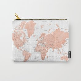 "Rose gold world map with cities, ""Hadi"" Carry-All Pouch"