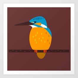 Kingfisher on a branch - animal graphic Art Print