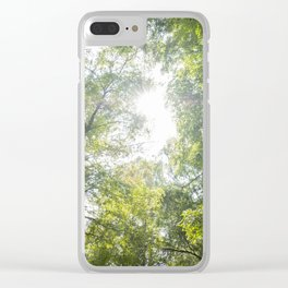 Arms raised in a forest Clear iPhone Case
