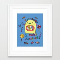 dentist Framed Art Prints featuring I hate dentist by PINT GRAPHICS