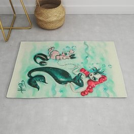 Glamorous Mermaid with Pink Poodle Mermaid Rug