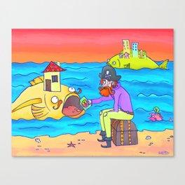 Pirate feeding his fish-home! Canvas Print