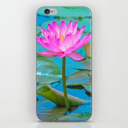 Pink Water Lily Flower - Nature Photography iPhone Skin