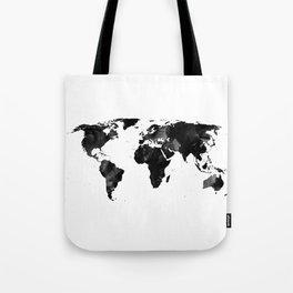 Black watercolor world map Tote Bag