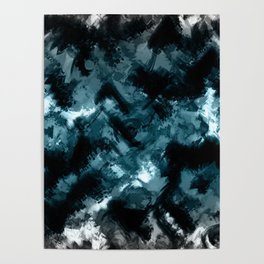 Abstract Black blue pattern Poster