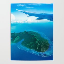 Travel vacation flying over bora bora Poster