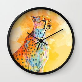 Wild Grace - Cheetah digital painting Wall Clock