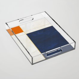 Orange, Blue And White With Golden Lines Abstract Painting Acrylic Tray
