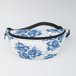 Vintage shabby Chic Seamless pattern with blue flowers and leaves. Vector Fanny Pack