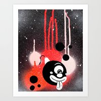 fez Art Prints featuring Bubble Fez by Sinister Hand Studios