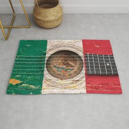 Old Vintage Acoustic Guitar with Mexican Flag Rug