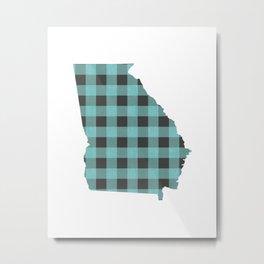 Georgia Plaid in Mint Metal Print