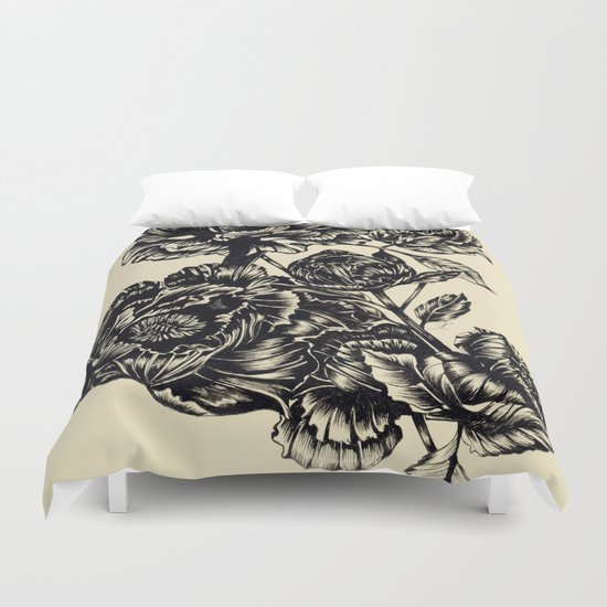 Peonies, black & white  Duvet Cover