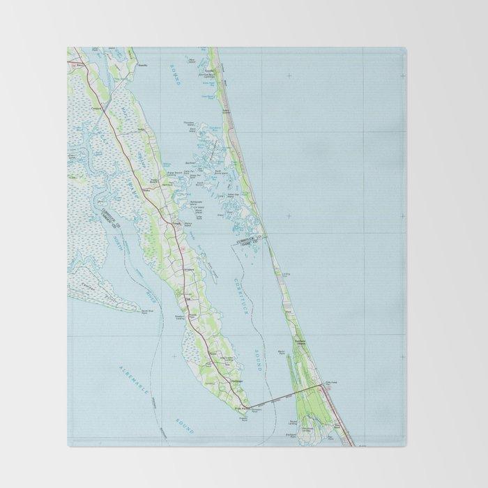 Northern Outer Banks North Carolina Map (1985) Throw Blanket