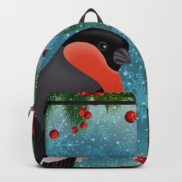 Bullfinch bird with fir tree decoration Backpack