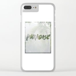 Paradise Palm Trees Clear iPhone Case