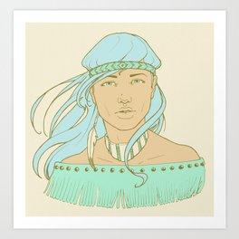 American Indian Nature Goddess in Seafoam Art Print