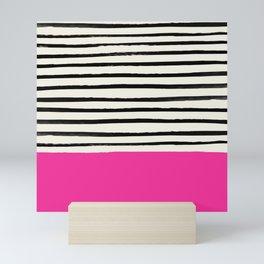 Bright Rose Pink x Stripes Mini Art Print