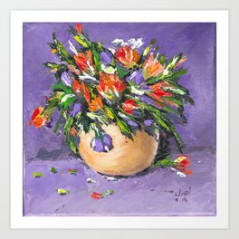 Flowers & Golden Vase Art Print