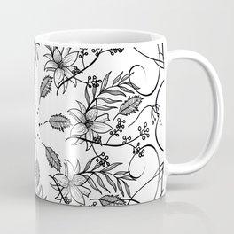 BLACK AND WHITE FLORAL MANDALA Coffee Mug