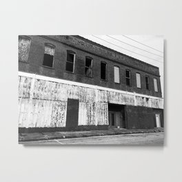 Abandoned Building in Black and White Metal Print