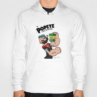 popeye Hoodies featuring Popeye The Hipster by Biagio Black
