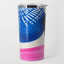 Mid Century Modern abstract Minimalist Fun Colorful Shapes Patterns Magenta Blue Bubbles Travel Mug
