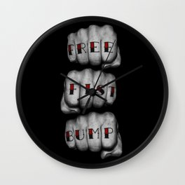 FREE FIST BUMP / Photograph of grungy fists with tattooed knuckles Wall Clock