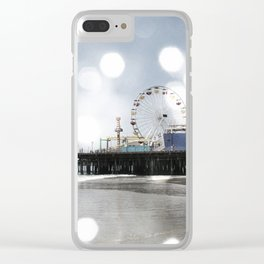 Sparkling grey Santa Monica Pier Clear iPhone Case