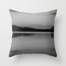 Black and White Sunset on Little Loon Throw Pillow